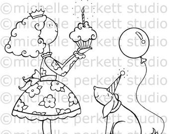 Digital Stamp Birthday cupcake candle wish balloons puppy dogs children cardmaking scrapbooking Stamping
