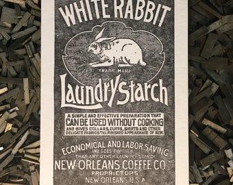 White Rabbit Letterpress Postcard
