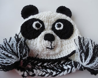 Panda Bear Hat - Black and White Bear Hat - Baby to Adult Sizing - Photo Prop - Crochet - Handmade - Made to Order