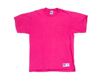 Vintage 90s Russell Athletic Pocket T Shirt Pink