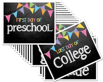 First & Last Day of School Chalk Design Photo Prop Deck of Signs - ENTIRE series Preschool thru College (16 grades), Fits any 8x10 Frame