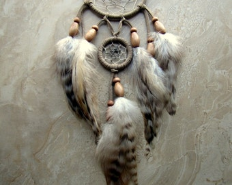 Dream Catcher - Natural Taupe Feather Dream Catcher, Double Ring Dreamcatcher - Magnetism