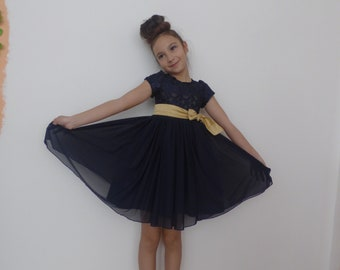 Beautiful children's dress from dark blue brussels lace and fine tulle, party dress, holiday dress, formal children's dress
