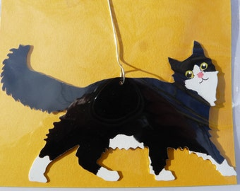 Metal Long-Hair Black and White Cat Ornament