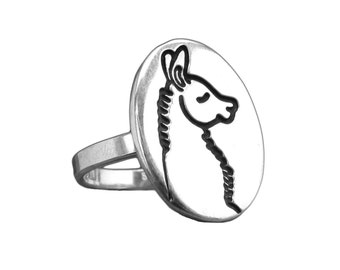 Llama Ring - Sterlign Silver Llama Ring or Alpaca Ring Custom Made to Your Size