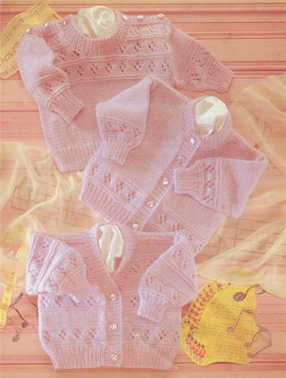 Baby Sweater and Cardigan PDF Knitting Pattern : Babies Boy or