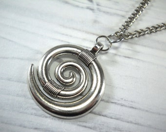 Spiral pendant etsy spiral pendant antique silver tone mens necklace gift for men antique silver tone chain faux leather cord suede leather cord aloadofball Images