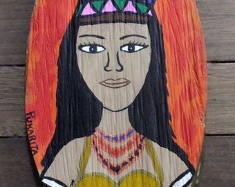 Decorative painting made of wood, with Original illustration indigenous Tikuna, hand painted, Colombian art