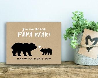 Printable Fathers Day Card | Papa Bear | Kraft, Love You Dad | No. F501