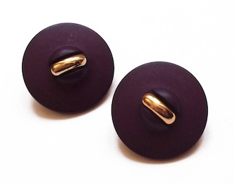 2 round buttons purple and gold acrylic 24 mm