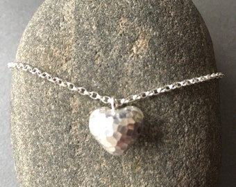 Hammered Sterling Silver Heart Necklace, Sterling Silver Heart Charm Pendant, Heart Charm Jewellery Gift, Beaten Silver Jewelry, UK Seller