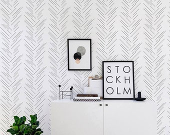 Herringbone Wallpaper/ Monochrome Removable Self-adhesive Wallpaper / Pattern Wall Covering - 189