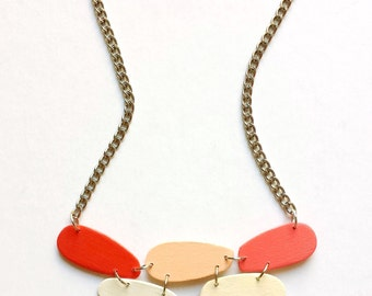 modern necklace - geometric necklace - wooden necklace in orange, coral, beige - minimalist modern jewelry
