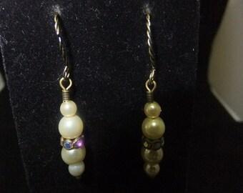 Ivory Pearl & Crystal Earrings