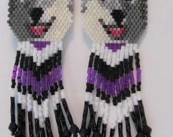 30 Hand Beaded  Laughing Grey wolf, Husky dog earrings with Purple & black in fringe