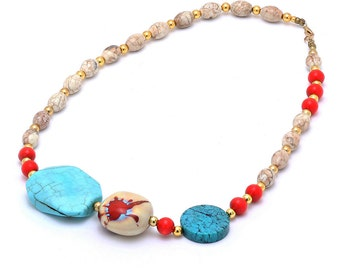 Ceramic & Stone Beaded Necklace