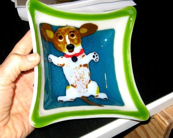 Fused Glass beagle basset bowl