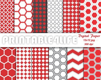 Digital paper pack in red gray, Geometric Patterns, Hexagon, Chevron, Clover, Cross, Scrapbook paper, Personal Or Commercial Use (a06)