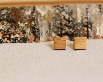 Simple Square Studs, Laser Cut Wood Earrings, Geometric Earrings, Boho Minimalist Simple Accessory, Earthy Rustic Sustainable Bamboo Studs