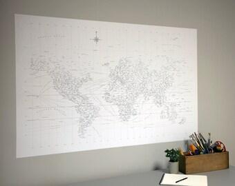 "38"" x 58"" Typographic World Map Adhesive Wall Print"