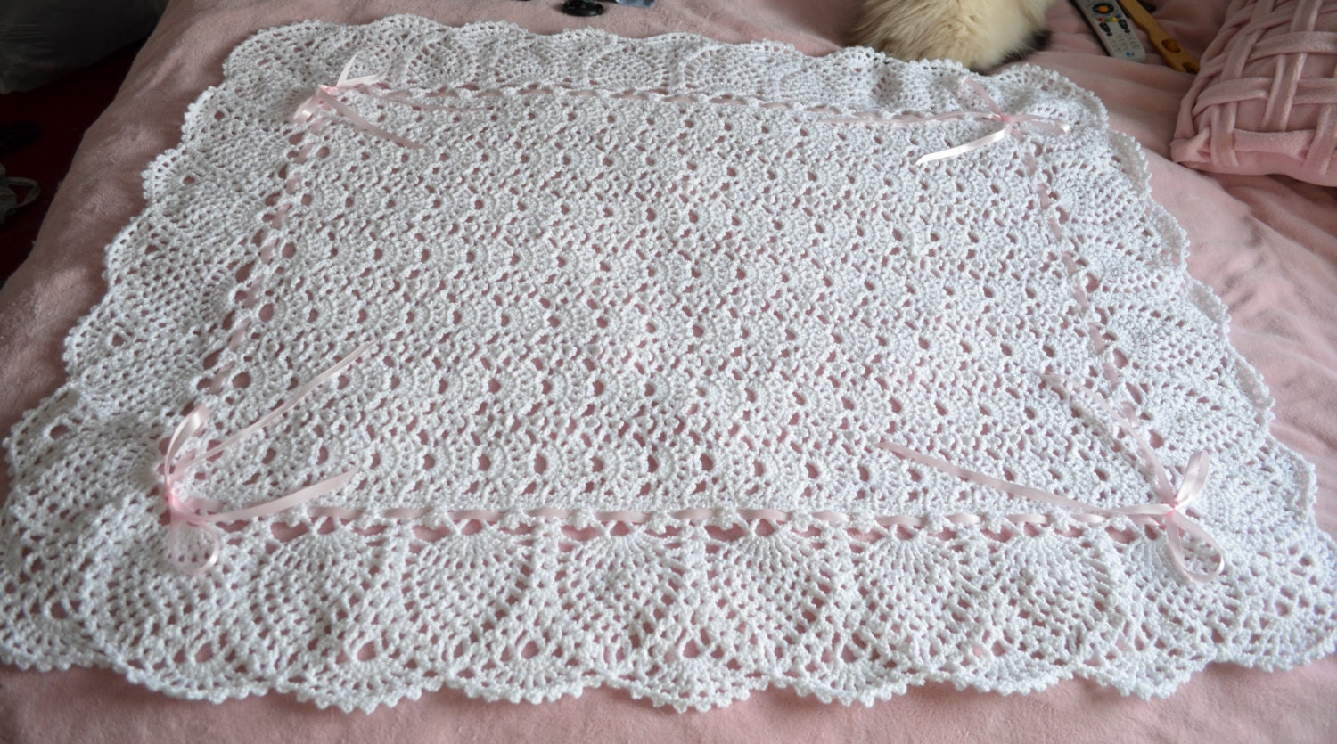 White Lace Crocheted Baby Blanket Afghan Perfect For The
