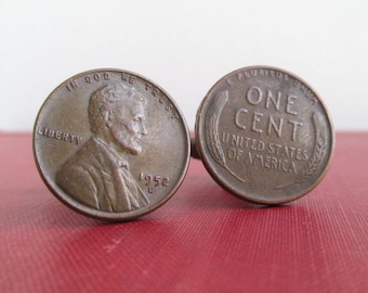 USA Wheat Penny Cuff Links - Front & Back Repurposed Vintage Coins, Natural Patina