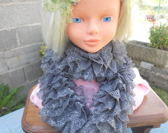 scarf gray color lace forming for women or teens