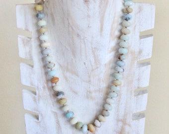 Edison Pearl Necklace, Amazonite, Beaded, Sterling Silver, Tahitian, Pendant, Yoga, Hawaiian, Aquamarine, Etsy, Boho, Necklace,Gyspy,Mermaid