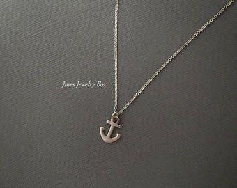 Tiny silver anchor necklace, Little silver anchor necklace, Minimalist anchor necklace, Minimalist necklace, Nautical necklace