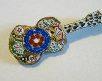 Vintage Micro Mosaic Guitar Brooch