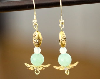 Chinese Vintage Inspired Gold and Green Agate Earrings
