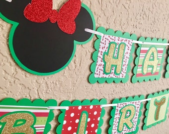Minnie and Mickey Christmas Banner, Minnie and Mickey Happy Birthday Christmas Banner, Minnie and Mickey Merry Christmas Banner