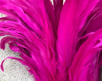 Rooster coque feathers 7-10 inch length color raspberry dyed over natural bleached, rooster feathers, Tahitian costume