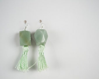 SALE - Aventurine Faceted Nuggets Green Tassels Earrings