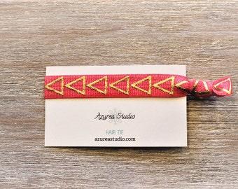 Gold Triangles Watermelon-Pink Hair Tie