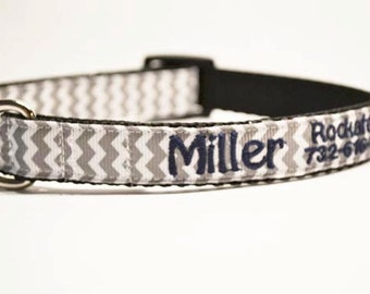Personalized Dog Collar, Gray Chevron, Dog Collar, Pets, Dogs, Made to order