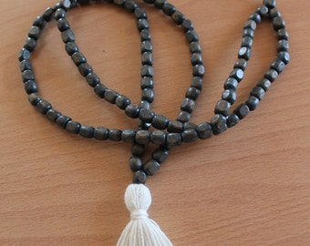 108 Beads Long Grey Rustic Wooden Bead Necklace ıvory Tassel Necklace