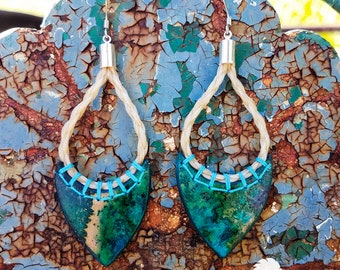 Horse Hair and Leather Earrings with Horsehair - Watercolor - Green & Turquoise - Boho Inspired