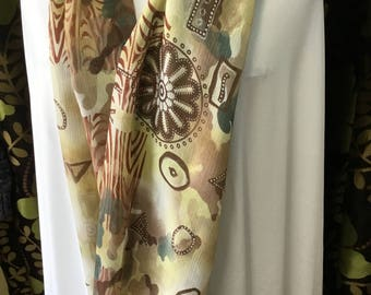 Handmade aboriginal style print lightweight infinity scarf