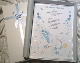 Beautiful New Baby Congratulations Card New Arrival Announcement Luxury Personalised Handmade Keepsake