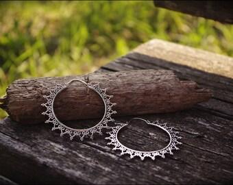 Silver Earrings. Hoop earrings Ethnic style. Tribal earrings. Boho Jewelry. Gypsy Jewelry. Ethnic style. Boho Earrings