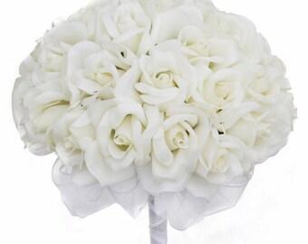 Ivory Silk Rose Hand Tie (36 Roses) - Silk Bridal Wedding Bouquet