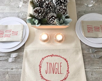 Christmas Table Runner Jingle Table Runner Holiday Table Runner Cotton Canvas Table Runner Farmhouse Decor Farmhouse Christmas Wreath