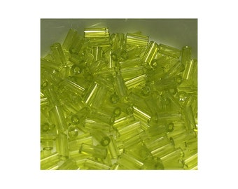Transparent Peridot 3mm Bugle Beads 5gm