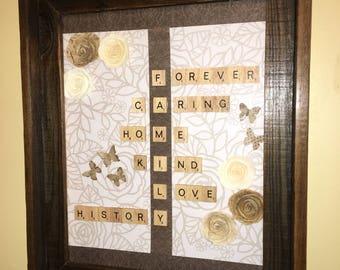 Scrabble family barnwood wall art