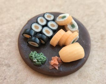 Miniature set of sushi for dollhouse, realistic food for dolls
