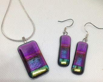 Handmade Rainbow Dichroic Fused Glass set earrings and pendant necklace