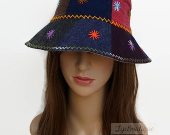 Hippie Sun Hat Girl women Bucket Travel Holiday Light Hat Patchwork Embroidered Cotton Fabric Multi Color Summer Spring Hat ST01