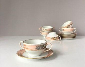Cream Soup Cups and Saucers, Vintage Hutschenreuther Selb Bavaria, Favorite Pattern, Hand Pained Fine China, 1950s Dinnerware