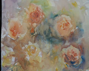 Dreamy English Roses original watercolour